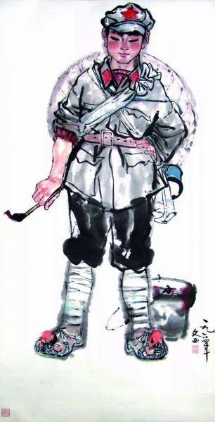 小红军(国画)137.5×69厘米 一九六四年 刘文西
