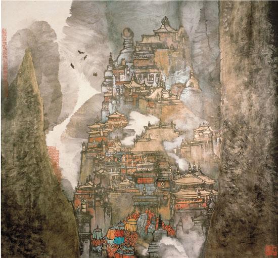 金谷圣寺 190×180cm 纸本设色 1986年