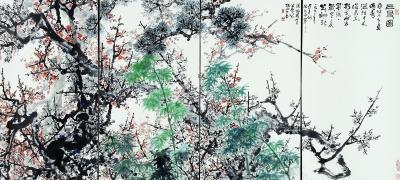 三友图(国画) 151.5×332厘米 1992年 关山月 关山月基金会藏