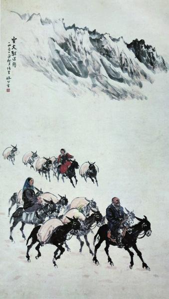 雪天驮运图(国画) 161.5×90厘米 一九五四年 赵望云 中国美术馆藏