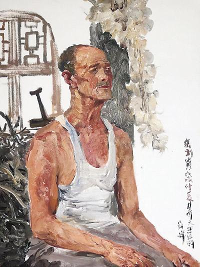 祁海峰为岳利贵老人创作的写生油画作品