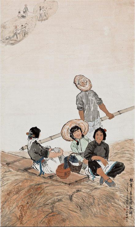 金志远、徐孅《歌声荡漾稻船归》1962年作 国画 中国美术馆藏