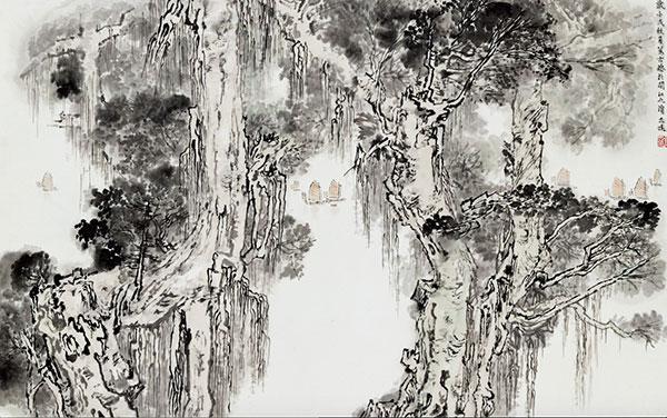 金志远《闽江古榕》1982年作  国画  中国美术馆藏