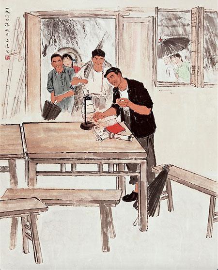 金志远《学习》 1964年作 江苏省美术馆藏