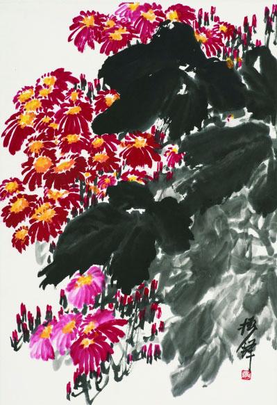 瓜叶菊(国画) 68×44厘米 20世纪六七十年代 张振铎
