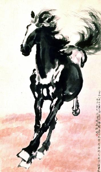 奔马图(国画) 326×112厘米 1941年 徐悲鸿