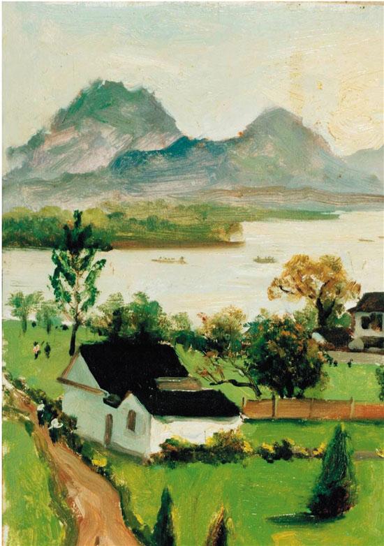 吴作人 西子湖(杭州) 29×20cm 油画 1957年5月