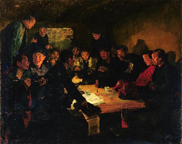 戴泽《农民小组会》,130×160cm,布面油画,1949-1950年