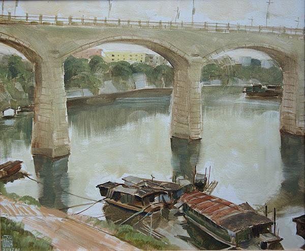 古棕 Guangxi Longjiang Fishing Boat 广西龙江渔舟50cm ×60cm. oil on linen