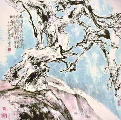 雪梅涧流(国画) 1990年 于希宁