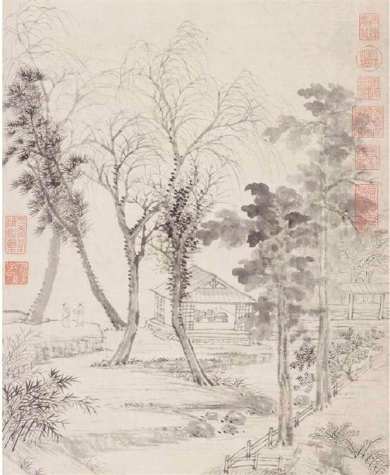 清 王翚 晚梧秋影图轴(局部) 故宫博物院藏