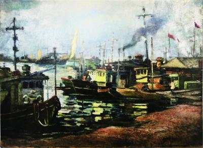 繁忙的赣江(油画) 50×80厘米 1966年 胡照华