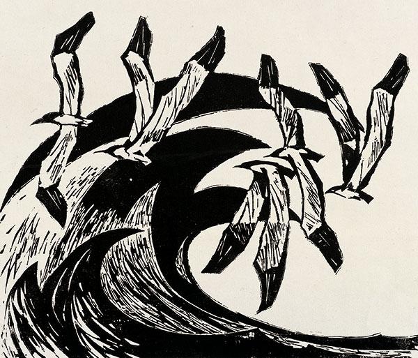 彦涵《春潮》纸本黑白木刻 1978年  中国美术馆藏