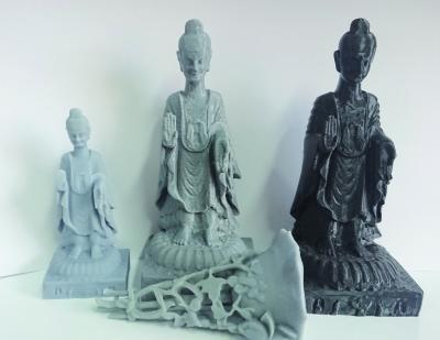 3D打印的石造像和犀角透雕花枝形杯