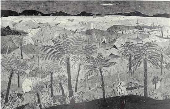 吴建棠 朱剑坤 蕨类活化石桫椤 200×308cm 版画