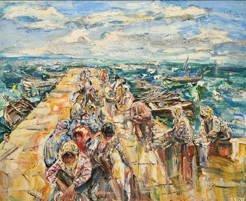 吴晓林油画《掰扇贝》