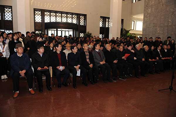 出席第二届全国大学生书法篆刻展开幕式的嘉宾。(钱晓鸣/摄)