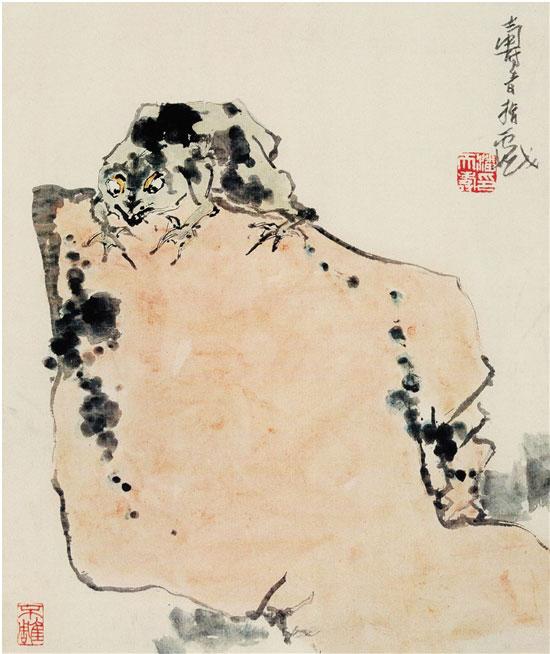 潘天寿 蛙石图(一) 58.6×48.2cm 纸本设色 1960年 潘天寿纪念馆存