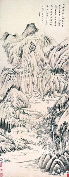 栖霞寺诗意图轴(中国画) 董其昌