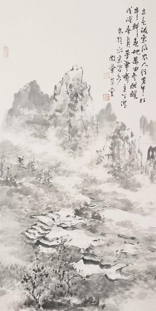 丁傑水墨畫作品《農人行霧中》
