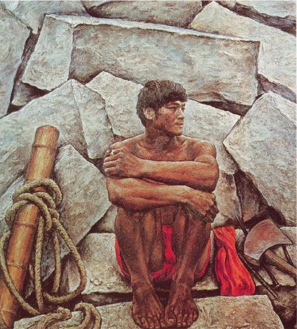 龙全 《基石》 布面油画  124cm×137cm  1984