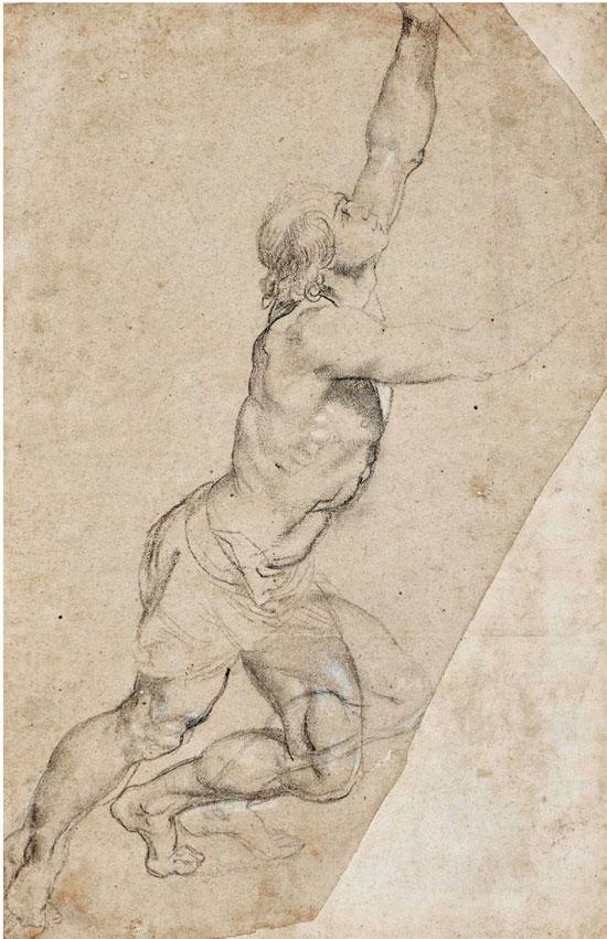 保罗·鲁本斯 高举双手的裸体青年 粉笔画 1608年