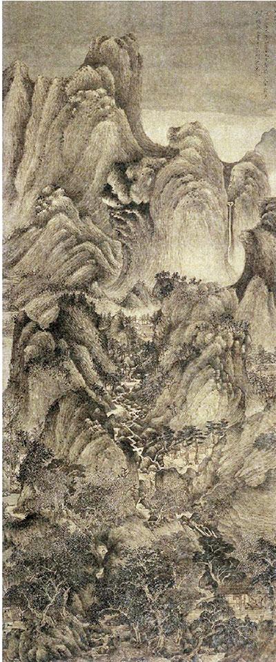 元 王蒙 夏山高隐图轴 绢本水墨 北京故宫博物院藏
