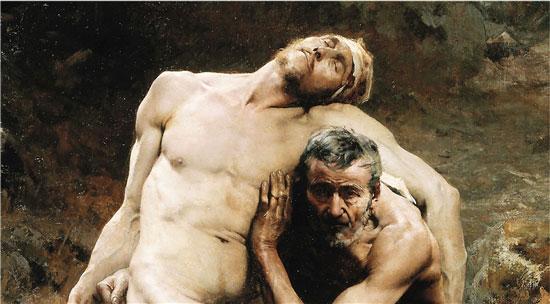 艾米·尼古拉斯·莫洛 好撒玛利亚人(局部) 布面油画 1880年 268×198cm 藏于巴黎小皇宫