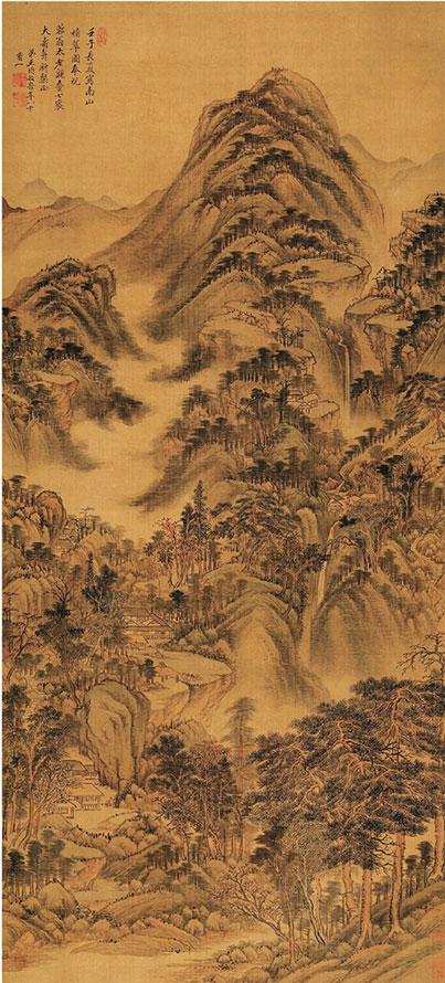 清 王时敏 南山积翠图 147×66.4cm  绢本设色 现藏于辽宁省博物馆