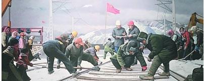 铿锵铁路军(油画)萌芳