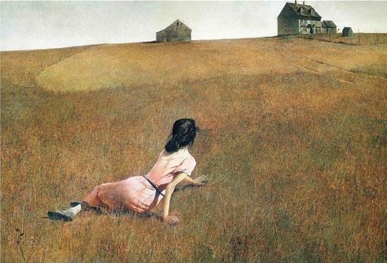 怀斯 《克里斯蒂娜的世界 》蛋彩画 1948年 纽约现代艺术博物馆藏,怀斯的作品,能将许多丰富的细节统一到单纯而抽象的画面构图中去