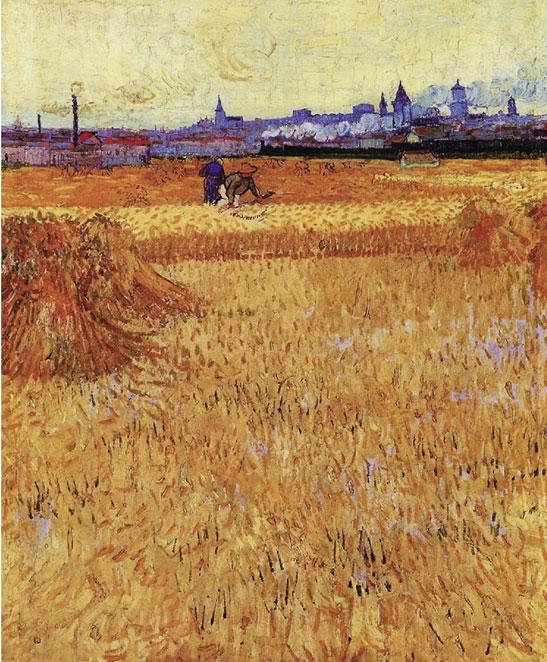 梵高 《阿尔勒:麦田风景》 油画 1888年 巴黎罗丹博物馆藏,梵高懂得充分利用透视造成的大小、宽窄、远近等变化来构图