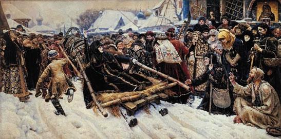 苏里科夫 《女贵族莫洛佐娃》 1887年 油画 莫斯科特列恰科夫美术博物馆藏 此幅作品,据说是作者先受到雪地上乌鸦的启发(大块白包围小块黑)才找到了创作的灵感