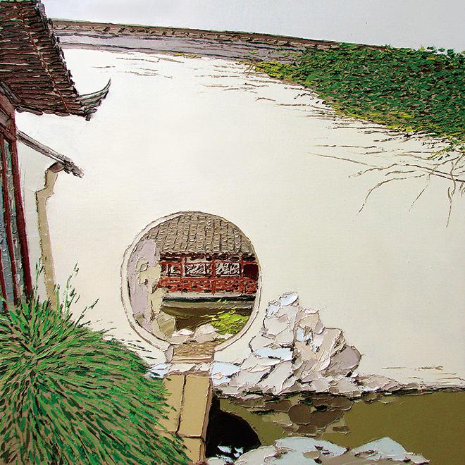 苏州艺圃NO.1  尺寸90<em></em>x90cm 2007年