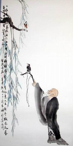 燕子桃花柳树水墨画素材
