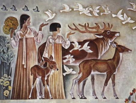 朝鲜族姑娘与鹿群全景-壁画作品