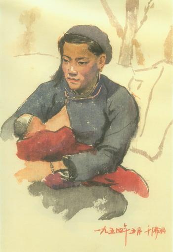 詹健俊/母与子35x23.9cm 1954年纸本、水彩