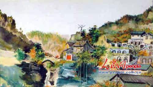 水彩古建筑画分享展示