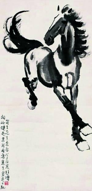 这幅《奔马图》被介绍是徐悲鸿创作于1948年的作品,左边题