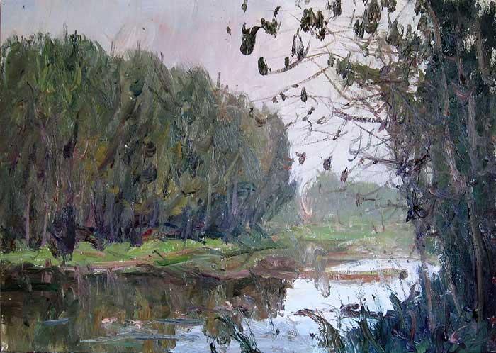 油画风景写生柳树